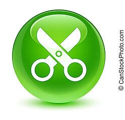 Scissors icon glassy green round button
