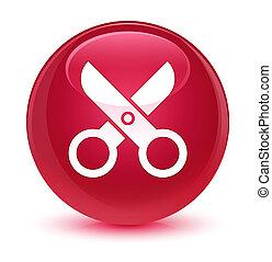 Scissors icon glassy pink round button