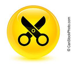 Scissors icon glassy yellow round button