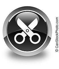 Scissors icon glossy black round button