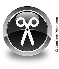 Scissors icon glossy black round button