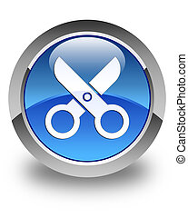 Scissors icon glossy blue round button 2