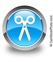 Scissors icon glossy cyan blue round button