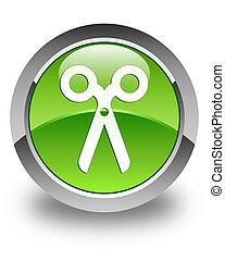 Scissors icon glossy green round button