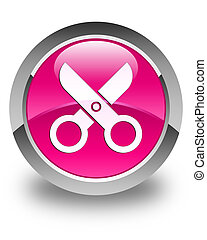 Scissors icon glossy pink round button