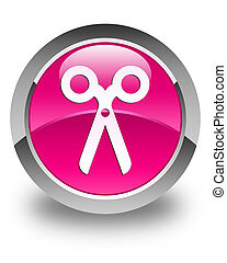 Scissors icon glossy pink round button
