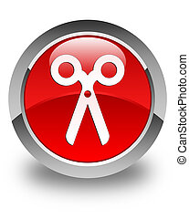 Scissors icon glossy red round button