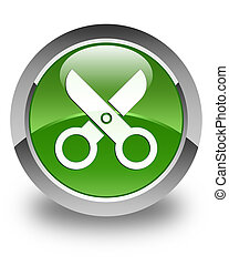 Scissors icon glossy soft green round button