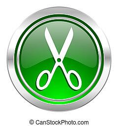 scissors icon, green button, cut sign