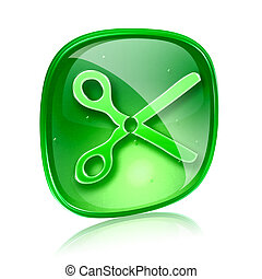 scissors icon green glass, isolated on white background.