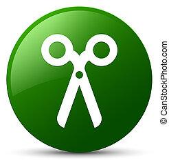 Scissors icon green round button