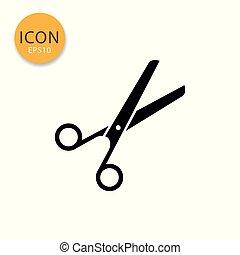 Scissors icon isolated flat style.