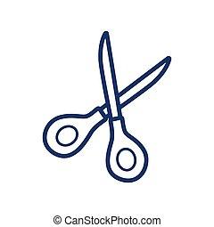 Scissors icon on white background, vector illustration