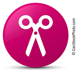 Scissors icon pink round button