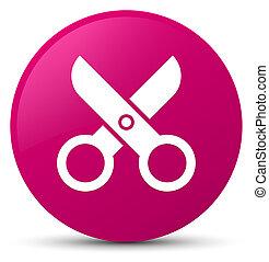 Scissors icon pink round button