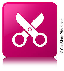 Scissors icon pink square button