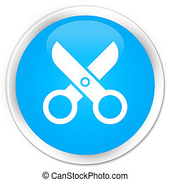 Scissors icon premium cyan blue round button