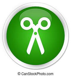 Scissors icon premium green round button
