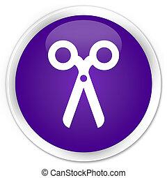 Scissors icon premium purple round button