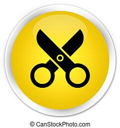 Scissors icon premium yellow round button