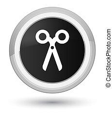 Scissors icon prime black round button