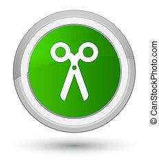 Scissors icon prime green round button
