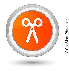 Scissors icon prime orange round button
