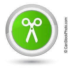 Scissors icon prime soft green round button
