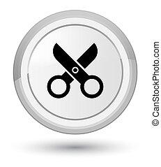 Scissors icon prime white round button