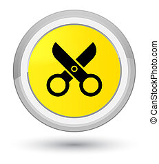 Scissors icon prime yellow round button