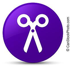Scissors icon purple round button