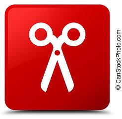 Scissors icon red square button