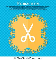 Scissors icon sign. Floral flat design on a blue abstract background with place for your text. Vector