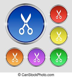 Scissors icon sign. Round symbol on bright colourful buttons. Vector