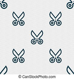 scissors icon sign. Seamless pattern with geometric texture. Vector