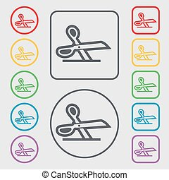 scissors icon sign. symbol on the Round and square buttons with frame. Vector