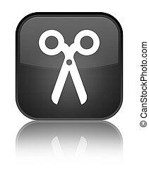 Scissors icon special black square button