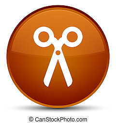 Scissors icon special brown round button