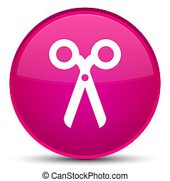 Scissors icon special pink round button