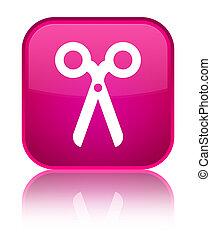 Scissors icon special pink square button