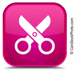 Scissors icon special pink square button