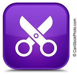 Scissors icon special purple square button