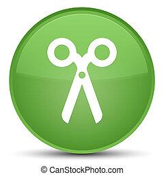 Scissors icon special soft green round button