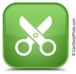 Scissors icon special soft green square button