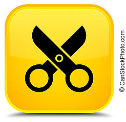 Scissors icon special yellow square button