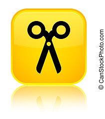Scissors icon special yellow square button