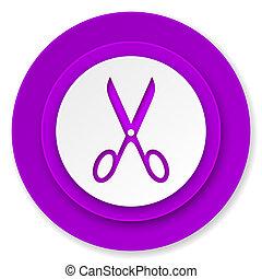 scissors icon, violet button, cut sign