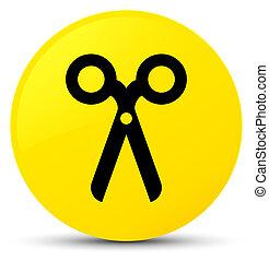Scissors icon yellow round button