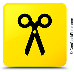 Scissors icon yellow square button