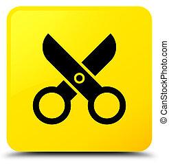 Scissors icon yellow square button
